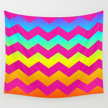 Rainbow Zig - Zag Wall Tapestry by All Is One