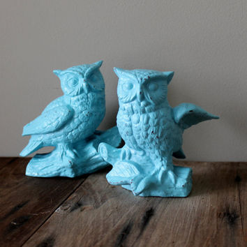Owl Decor Figurines Vintage Figure Owls Upcycled Painted Set Turquoise Blue Cearmic