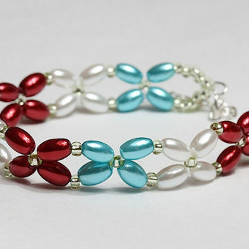Glass pearl beads bracelet