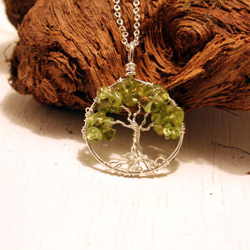 Petite Sterling Silver Tree Of Life Peridot Necklace On Sterling Chain Wire Wrapped Pendant Jewelry August Birthstone -Birthstone Series