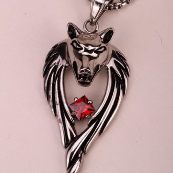 SHIPS FROM USA Wolf stainless steel necklace 316L pendant W chain christmas holiday jewelry gifts for men women HN01