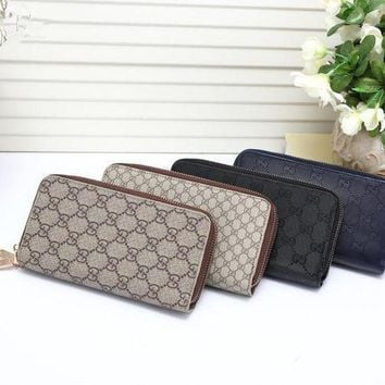 PEAPON Gucci' Unisex Purse Retro Fashion Classic Letter Print Double Zip Long Section Multifunction Clutch Wallet