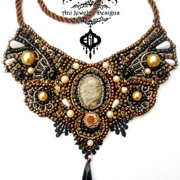 Romantic Bronze  bib bead embroidery design  Metamorphosis  Deschutes Jasper Ani Jewelry Designs