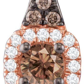 14kt Rose Gold Womens Round Cognac-brown Colored Diamond Halo Solitaire Pendant 1/4 Cttw