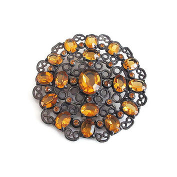 Art Deco Brooch, Citrine Topaz Glass, Filigree Metal, Large Round, Art Deco Jewelry, Vintage Brooch, Vintage Jewelry
