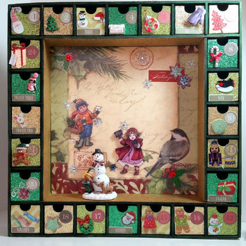Advent Calendar Christmas Countdown - Wooden Advent Calendar - Personalized Gifts - Rustic Traditional Decor  - Holiday Decorations