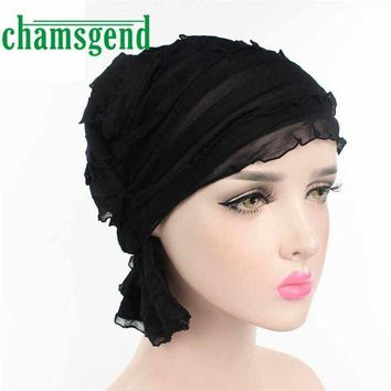 CREYCI7 2017 hat Women Chiffon Ruffle Cancer Chemo Hat Beanie Scarf Turban Head Wrap Cap Womail May25
