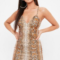 Missguided - Madison Beer x Missguided Brown Strappy Bodycon Snake Dress
