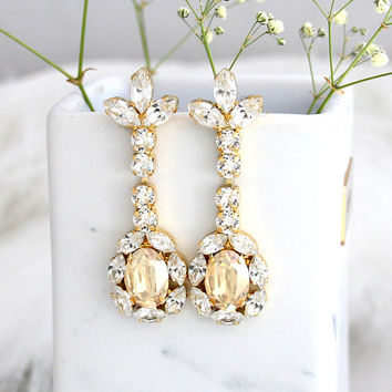 Bridal earrings, Champagne Earrings, Bridal Drop Earrings, Ivory Crystal Earrings, Swarovski Earrings, Bridal Crystal Champagne Earrings