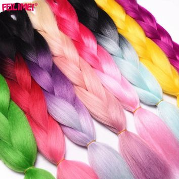 Feilimei Ombre Blonde Colored Crochet Hair Extension Kanekalon Hair Synthetic Crochet Braids Ombre Jumbo Braiding Hair Bundles