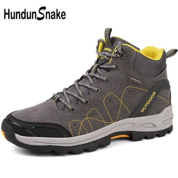 Hundunsnake High Mens Hiking Boots Leather Sneakers For Men Hiking Shoes Trekking Boots Outdoor Shoes Man Mountain Boots T537