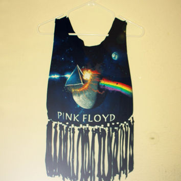 Pink Floyd Fringe / Beaded T shirt / Cropped Tank Top / Up-cycled / Hippie / Festival Top