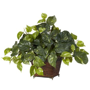 Silk Flowers -Pothos With Coiled Rope Planter Artificial Plant