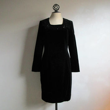 70s Vintage Laura Ashley Dress Black Shift Velvet LBD 1970s Evening Cocktail Beaded Dress 10US