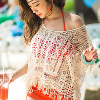 Off White Fringed Short Sleeve Crochet Cover Up