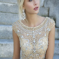 Beaded Empire Waist Nude Prom Dress 88174