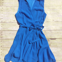 Sleeveless Blue Swing Party Dress