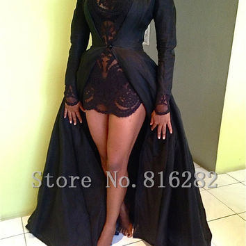 vestidos para festa 2015 hot sale Sexy black prom dress Long sleeve high neck A-line Lace Long prom dresses for prom