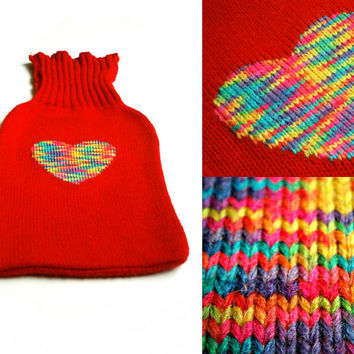 Neon Rainbow Heart - Upcycled Embroidered Hot Water Bottle Cozy