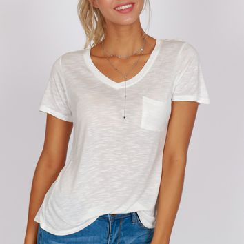 Pocketed Boyfriend Tee Bright White