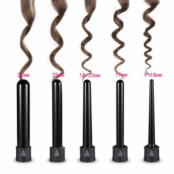3P/ 5P Hair Curler Set Hair Styling Tools Kits Hair Care Curling Iron Wand Interchangeable Tourmaline Ceramic