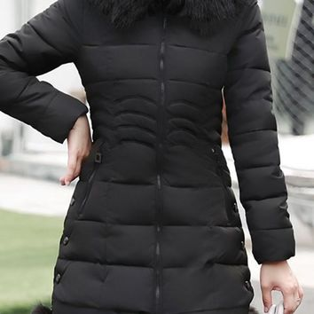 Black Pockets Fuzzy Hooded Long Sleeve Going out Coat