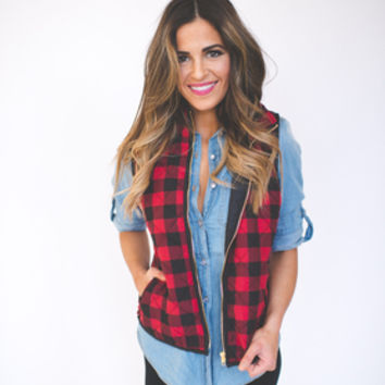 Black/Red Checkered Vest