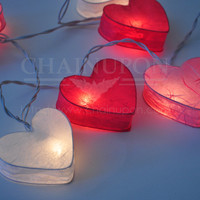 LOVE PINK HEART LANTERN STRING PATIO,FAIRY,DECOR,HOME,VALENTINE,WEDDING LIGHTS