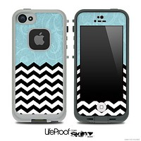 Mixed Blue Laced Floral and Chevron Pattern Skin for the iPhone 5 or 4/4s LifeProof Case