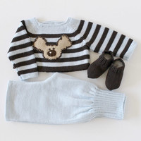 Knitted baby set. Striped sweater, pants and socks. Felt dog. Brown soft blue. 100% merino. READY TO SHIP size newborn.