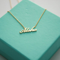 Aloha Necklace, Dainty Hawaiian Welcome Necklace, Aloha Hawaiian Gold Pendant, Surfing Necklace, Hawaiian Local Welcome Necklace