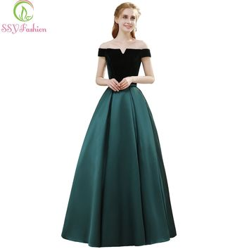 Banquet Simple Elegant Evening Dress Bride Boat Neck Velvet with Satin Vintage Long Prom Formal Gown