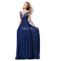Royal Blue Long Chiffon Evening Dresses 2017 Stock Open Back with Lace up Embroidery Formal Elegant Prom Gowns For Women Wear