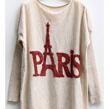Batwing Sleeves Jumper with Paris Eiffel Tower Print, one size = 1945898436