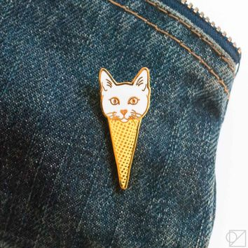 Cat Cone Enamel Pin