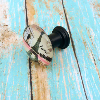 Handmade Kitchen Knobs Drawer Pulls Paris France Shabby Chic Eiffel Tower Cottage French Provincial Farmhouse Paris Decor