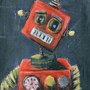 Original Painting, Sad Robot