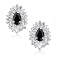 Black Teardrop and Clear Baguette and Round Cubic Zirconia Stud Earrings