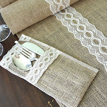 Rustic Chic Wedding Burlap Table Runner Wedding Table Top With Vintage Ivory  Italian Lace , Handmade