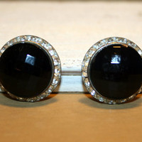 Vintage 60s Womens Jewelry Black Clip on Earrings Dressy Dramatic Large Earrings Black Earrings Rhinestones Classy Retro Jewelry Gift Idea