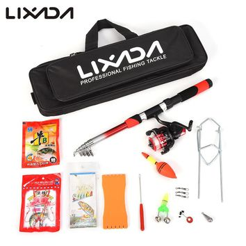 Lixada fishing Rod Combo set Fishing Pole Rod Set Telescopic Sea Rod Spinning Fishing Reel Baits Hooks Fishing Bag Kit Pesca