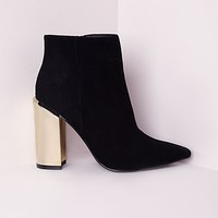 Missguided - Gold Plated Block Heel Ankle Boot Black
