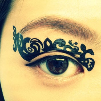 1 Pair of Temporary Tattoo Transfer Stickers Makeup for Eyes Eyelids Black Color Sea Laced for Clubbing Party