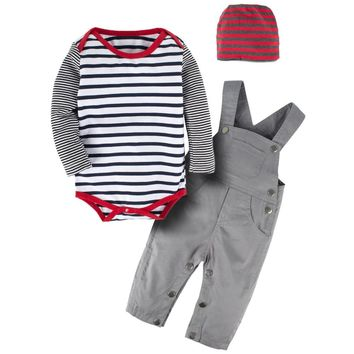 Fashion Infant Toddler Kids Baby Boy Clothes 3Pcs Overalls Set Long Sleeve Stripe Romper Overalls Clothing Set With Hat