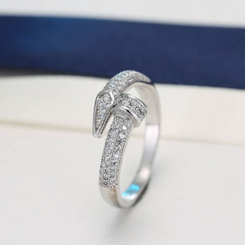 New Arrivals 925 Sterling Silver Crystal Nail Rings For Women Adjustable Size Finger Ring Fashion sterling-silver-jewelry