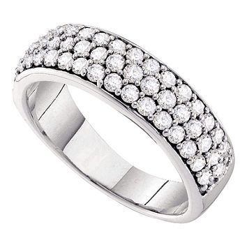 10kt White Gold Women's Round Pave-set Diamond Triple Row Wedding Band 1.00 Cttw - FREE Shipping (US/CAN)