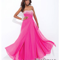 (PRE-ORDER) Tony Bowls 2014 Prom Dresses - Fuchsia Embellished Strapless Ruched Georgette Gown