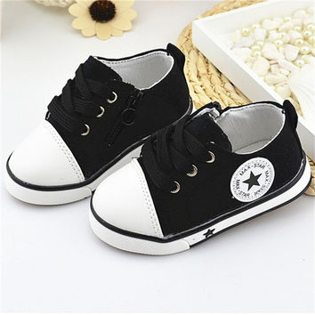 New Baby Shoes Breathable Canvas Shoes 0-3 Years Old Boys Shoes 4 Color Comfortable Girls Baby Sneakers Kids Toddler Shoes Black