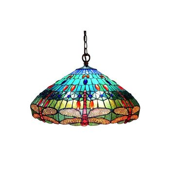 "Scarlet, Tiffany-Style 3 Light Dragonfly Hanging Pendant Lamp 24"" Shade"