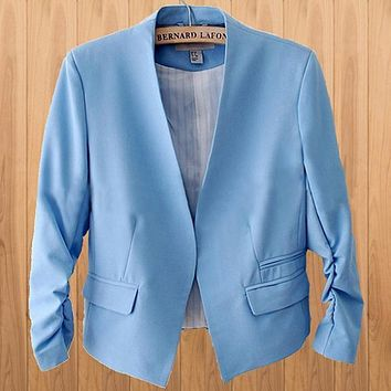 Women Stylish Candy Color Slim Short Casual Suit Jacket Blazer Coat